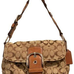 Coach Logo Tan Canvas Leather Bag